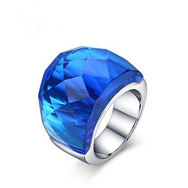 رخيصةأون خواتم-نسائي خاتم 1PC أزرق أزرق فاتح فاتح أخضر الفولاذ المقاوم للصدأ زجاج دائري موضة هدية مناسب للبس اليومي مجوهرات فينتاج محبوب