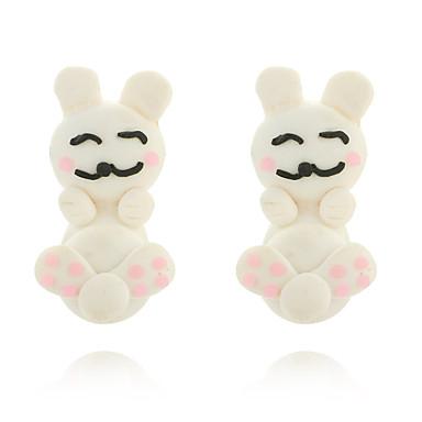 رخيصةأون أقراط-نسائي حلقات أقراط أمامية وخلفية Rabbit حيوان لطيف للأطفال الأقراط مجوهرات أبيض من أجل مواعدة 1 زوج