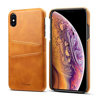 voordelige iPhone-hoesjes-hoesje Voor Apple iPhone XS / iPhone XR / iPhone XS Max Kaarthouder Achterkant Effen Hard PU-nahka