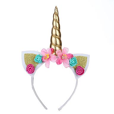 ieftine Halloween és farsangi jelmezek-Unicorn Rabbit mascotă Urechi Banderolă Cap Pentru copii Fete Cosplay Paște Festival / Sărbătoare Material Textil Auriu / Alb / Mov Uşor Costume de Carnaval Floral Inorog / Veșminte de cap