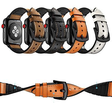 Недорогие Ремешки для Apple Watch-Ремешок для часов для Серия Apple Watch 5/4/3/2/1 Apple Классическая застежка силиконовый / Натуральная кожа Повязка на запястье