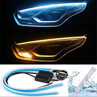 Light Source Color : Cold White Jiawen 60cm 12V 7W Car Daytime Running Lights 2PCS