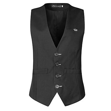 رخيصةأون سترات و بدلات الرجال-رجالي أسود XL XXL XXXL Vest V رقبة نحيل