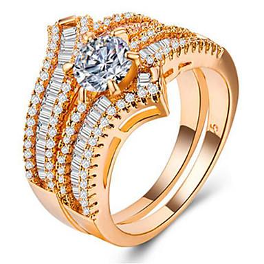 olcso Ring Set-Női Gyűrű készlet Micro Pave gyűrű Kocka cirkónia 2pcs Arany Ezüst Vörös arany Réz Arannyal bevont Geometric Shape Egyedi Európai Romantikus Esküvő Ajándék Ékszerek Kéttónusú Hinni Bájos