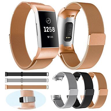 voordelige Smartwatch-accessoires-vervangende horlogeband voor fitbit charge 3 fitbit milanese lus roestvrij stalen polsband klein / groot voor dames / heren