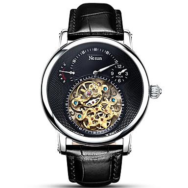 Недорогие Часы на кожаном ремешке-nesun Муж. Нарядные часы С автоподзаводом На каждый день Защита от влаги Аналоговый Белый Черный / Нержавеющая сталь / Натуральная кожа / Фосфоресцирующий / Натуральная кожа