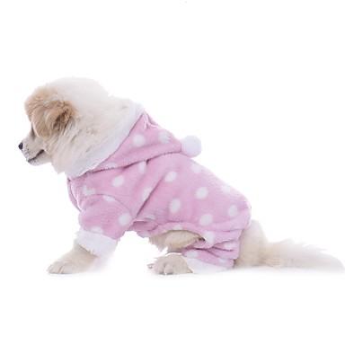 رخيصةأون ملابس وإكسسوارات الكلاب-كلاب منامة الشتاء ملابس الكلاب أزرق فاتح شريط أصفر كوستيوم فصيل كورجي كلب صيد كلب البلدغ تيريليني منقط ببيونة كاجوال / يومي أسلوب بسيط S M L XL
