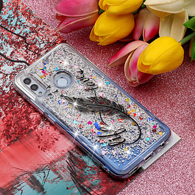 voordelige Huawei Mate hoesjes / covers-hoesje Voor Huawei Huawei Honor 10 / Huawei Honor 8X / Mate 10 lite Stromende vloeistof / Patroon / Glitterglans Achterkant Veren / Glitterglans Zacht TPU
