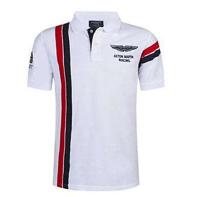 levne Pánská polo trika-Pánské - Barevné bloky / S proužky Polo Košilový límec Štíhlý Bílá