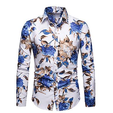Недорогие Мужская мода-Муж. Рубашка Хлопок Цветочный принт Белый