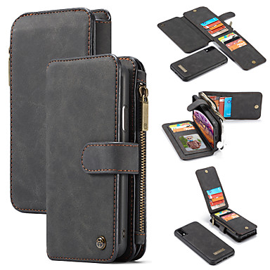 cheap iPhone X Cases-Case For Apple iPhone XS / iPhone XR / iPhone XS Max Wallet / Card Holder / with Stand Full Body Cases Solid Colored Hard PU Leather
