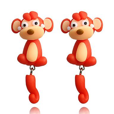 رخيصةأون أقراط-نسائي حلقات أقراط أمامية وخلفية قرد حيوان لطيف للأطفال الأقراط مجوهرات أحمر من أجل مواعدة 1 زوج