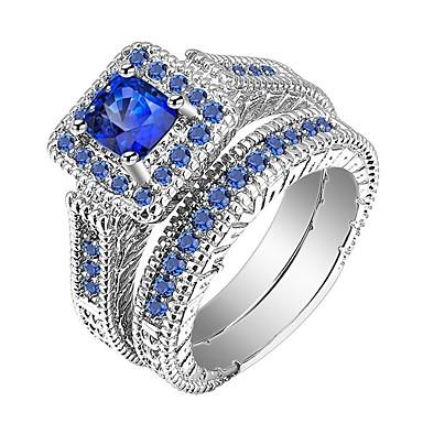 رجالي نسائي خاتم خواتم مجموعة 2pcs أزرق سبيكة هدية مناسب للبس اليومي مجوهرات مهد كوول