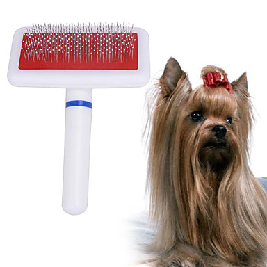 كلاب حيوانات أليفة فرش الاستمالة التنظيف بلاستيك أمشاط تدليك قابل للغسيل حيوانات أليفة أدوات الحلاقة أبيض 1