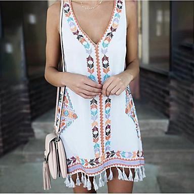 povoljno Mini suknje-Žene 2020 Bijela Navy Plava Haljina Boho Proljeće ljeto Plaža A kroj V izrez Rese S M Slim