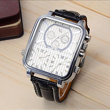 ieftine Ceasuri Bărbați-V6 Bărbați Ceas Sport Ceas Elegant Ceas de Mână Quartz Piele Negru 30 m Rezistent la Șoc Cool Analog Lux Modă extravagant - Negru Negru / Alb Un an Durată de Viaţă Baterie / Oțel inoxidabil