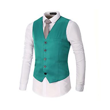 رخيصةأون سترات و بدلات الرجال-رجالي أسود أحمر كاكي XL XXL XXXL Vest لون سادة V رقبة