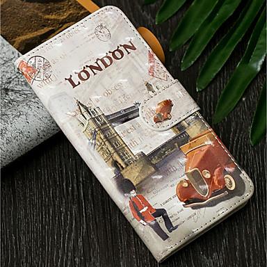 رخيصةأون حافظات / جرابات هواتف جالكسي J-غطاء من أجل Samsung Galaxy J7 (2017) / J6 (2018) / J6 Plus محفظة / مع حامل / قلب غطاء كامل للجسم مع إطلالة على المدينة قاسي جلد PU