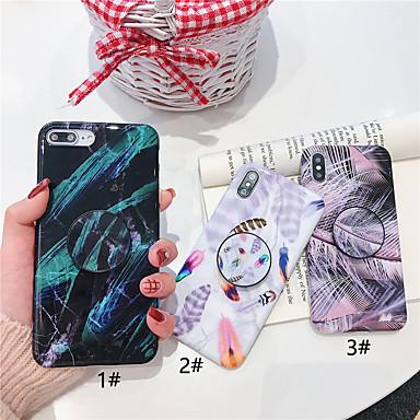 voordelige iPhone X hoesjes-hoesje Voor Apple iPhone XS / iPhone XR / iPhone XS Max met standaard / Ultradun / Patroon Achterkant Veren Zacht TPU