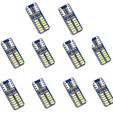olcso Autó világítás-10pcs T10 Autó Izzók 2 W SMD 3014 100 lm 24 LED Rendszámtábla világítás / Hátsó lámpa / Belső világítás Kompatibilitás Univerzalno Minden évjárat