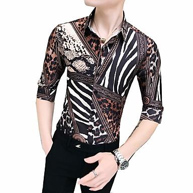 رخيصةأون قمصان رجالي-رجالي قميص, هندسي ياقة كلاسيكية نحيل