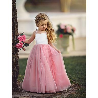 povoljno Haljine za djevojčice-Djeca Djevojčice Cvijet Osnovni Party Dusty Rose Jednobojni Bez rukávů Maxi Haljina purpurna boja