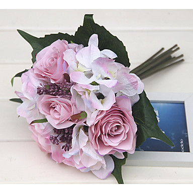 زهور اصطناعية 1 فرع كلاسيكي الزفاف Wedding Flowers الورود أرطنسية الزهور الخالدة أزهار الطاولة
