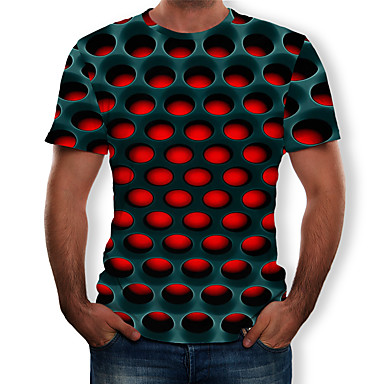 cheap Valentine's Day-Men's Casual / Daily Plus Size Street chic / Exaggerated T-shirt - Geometric / 3D Print Round Neck Purple