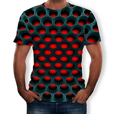 رخيصةأون تيشيرتات وتانك توب رجالي-رجالي أناقة الشارع / مبالغ فيه طباعة تيشرت, هندسي / 3D رقبة دائرية