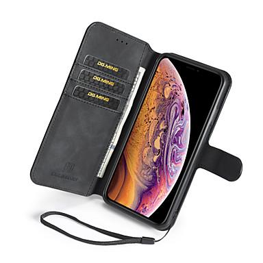 Недорогие Кейсы для iPhone-Кейс для Назначение Apple iPhone XS / iPhone XR / iPhone XS Max Бумажник для карт / со стендом Чехол Однотонный Твердый Кожа PU