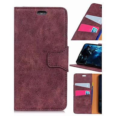 Недорогие Чехлы и кейсы для Xiaomi-Кейс для Назначение Xiaomi Xiaomi Redmi Note 5 Pro / Xiaomi Pocophone F1 / Xiaomi Mi Play Кошелек / Бумажник для карт / Защита от удара Чехол Однотонный Твердый Кожа PU