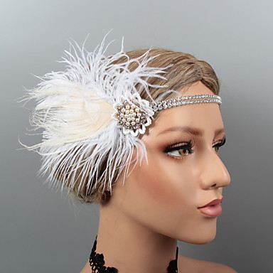 cheap Party Accessories-Vintage 1920s The Great Gatsby Feathers Headbands / Headdress / Headpiece with Rhinestone / Crystal / Feather 1 pc Wedding / Party / Evening Headpiece