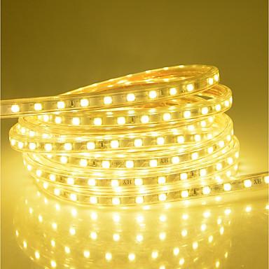 olcso LED szalagfények-25 m LED-es szalagfények 1500 LED 5050 SMD Meleg fehér / Fehér / Piros Vízálló / Szabadság / Karácsonyi esküvői dekoráció 220-240 V