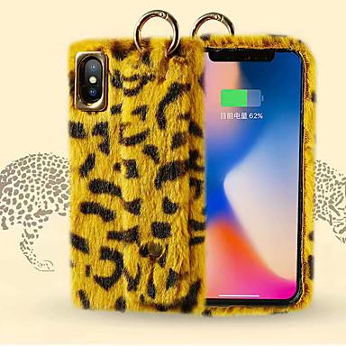 Недорогие Кейсы для iPhone 7 Plus-Кейс для Назначение Apple iPhone XS / iPhone XR / iPhone XS Max Резервная копия Кейс на заднюю панель Леопардовый принт Мягкий текстильный