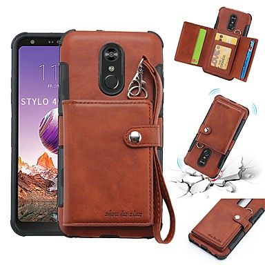 cheap LG Case-Case For LG LG Q Stylus / LG Stylo 4 Wallet / Card Holder / Shockproof Back Cover Solid Colored Soft PU Leather