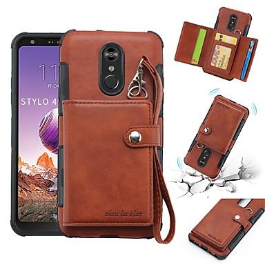 Недорогие Чехлы и кейсы для LG-Кейс для Назначение LG LG Q Stylus / LG Stylo 4 Кошелек / Бумажник для карт / Защита от удара Кейс на заднюю панель Однотонный Мягкий Кожа PU