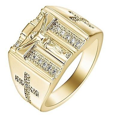 رجالي نسائي خاتم مكعب زركونيا 1PC ذهبي فضي ستانلس ستيل سبيكة هدية مناسب للبس اليومي مجوهرات صليب