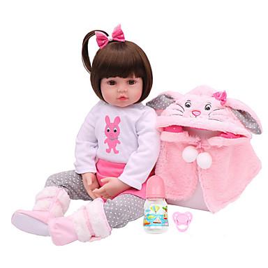 olcso babák-NPKCOLLECTION NPK DOLL Reborn Dolls Lány Doll Lány babák 18 hüvelyk Vinil - Ajándék Bájos Mesterséges beültetés barna szemek Gyerek Játékok Ajándék