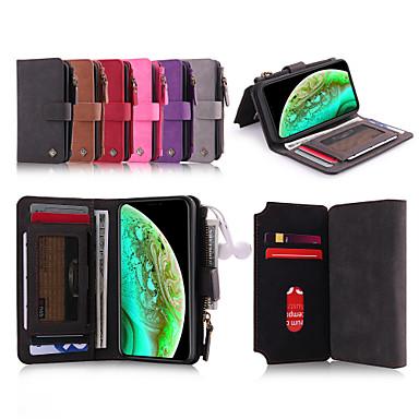 Недорогие Кейсы для iPhone 6-Кейс для Назначение Apple iPhone XS / iPhone XR / iPhone XS Max Кошелек / Бумажник для карт / Защита от удара Чехол Однотонный Твердый Кожа PU