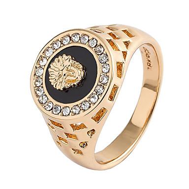 رخيصةأون خواتم-رجالي خاتم مكعب زركونيا 1PC ذهبي فضي سبيكة هدية مناسب للبس اليومي مجوهرات أسد