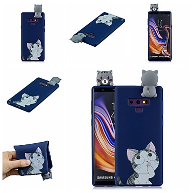 Недорогие Чехлы и кейсы для Galaxy Note-Кейс для Назначение SSamsung Galaxy Note 9 / Note 8 С узором Кейс на заднюю панель Кот / Мультипликация Мягкий ТПУ