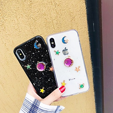 Недорогие Кейсы для iPhone X-чехол для яблока iphone xr / iphone xs max diy / выкройка / прозрачная задняя крышка мультфильм / блестящий блеск мягкий тпу для iphone x / xs / 6/6 plus / 6s / 6s plus / 7/7 plus / 8/8 plus