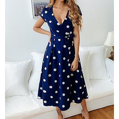 povoljno Print Dresses-Žene Red Obala Haljina Elegantno A kroj Na točkice Duboki V S M