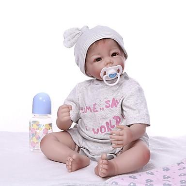 olcso babák-NPKCOLLECTION Reborn Dolls Fiú babák 22 hüvelyk Vinil - élethű Bájos Mesterséges beültetés barna szemek Gyerek Uniszex Játékok Ajándék