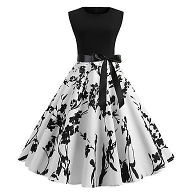 halpa Printtimekot-Naisten 2020 Punastuvan vaaleanpunainen Valkoinen Mekko 1950-luku Vintage Kesä Bile A-linja Kukka Painettu S M