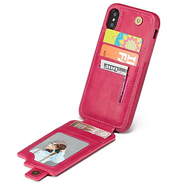 voordelige iPhone 6 hoesjes-hoesje Voor Apple iPhone X / iPhone 8 Plus / iPhone 8 Kaarthouder Achterkant Effen Zacht TPU
