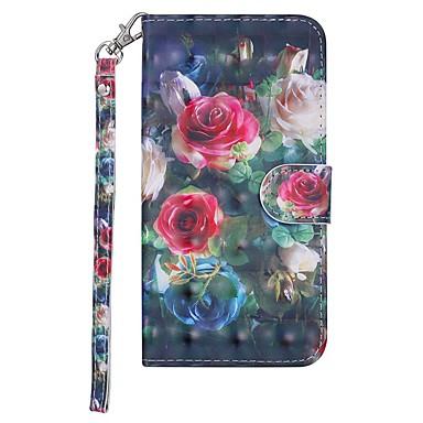 Недорогие Чехлы и кейсы для Nokia-Кейс для Назначение Nokia Nokia 7.1 / Nokia 6 2018 / Nokia 5 Кошелек / Бумажник для карт / со стендом Чехол Цветы Твердый Кожа PU