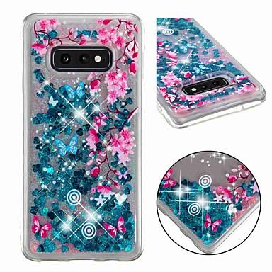Недорогие Чехлы и кейсы для Galaxy S6 Edge-Кейс для Назначение SSamsung Galaxy S9 / S9 Plus / S8 Plus Защита от удара / Движущаяся жидкость / Прозрачный Кейс на заднюю панель Сияние и блеск / Цветы Мягкий ТПУ