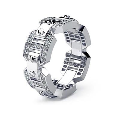 رخيصةأون خواتم-رجالي نسائي خاتم 1PC فضي تقليد الماس سبيكة أوروبي مناسب للبس اليومي مجوهرات فراغ خارجي حد السكين