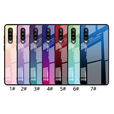 رخيصةأون Huawei أغطية / كفرات-غطاء من أجل Huawei Huawei P20 / Huawei P20 Pro / Huawei P20 lite نحيف جداً غطاء خلفي لون متغاير قاسي زجاج مقوى